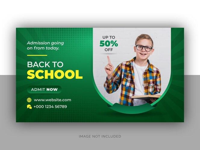 torna a banner web di ammissione alla scuola e design del modello di volantino