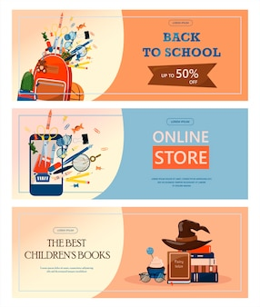 Back to school advertising banner sale online store web  flat illustrations for elementary school