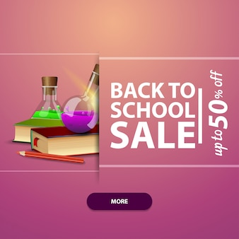 Back to school, advertising and promotions with books and chemical flasks