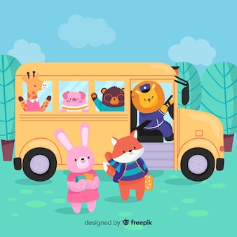 Back to school animal bus collection