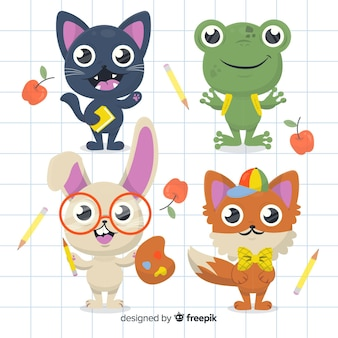 Back to school animal collection with cute cat