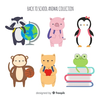 Back to school animal collection with penguin
