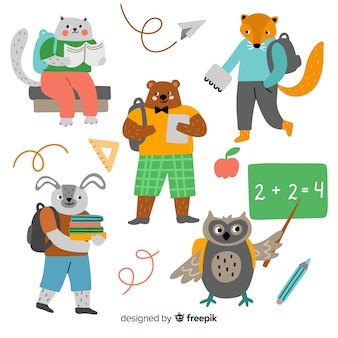 Back to school animal collection