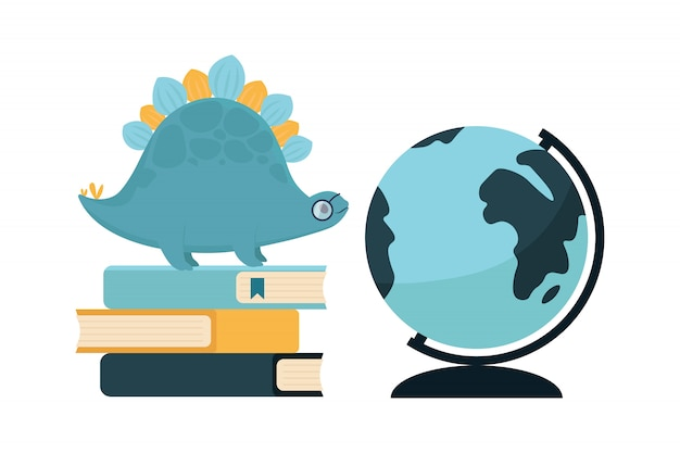 Back to school animal dinosaur with book and globe.   illustration.