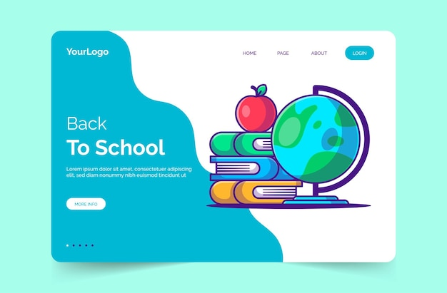 Back to school autumn landing page template