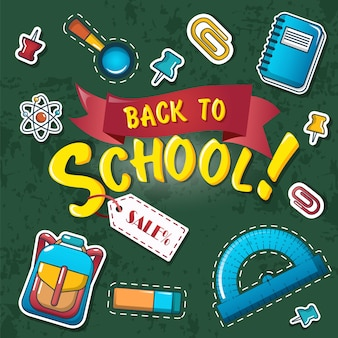 Back to school background, cartoon style