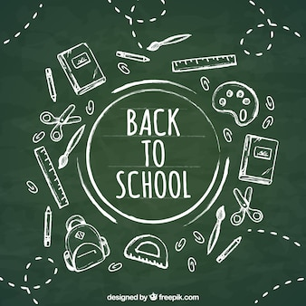 Back to school background in chalk style