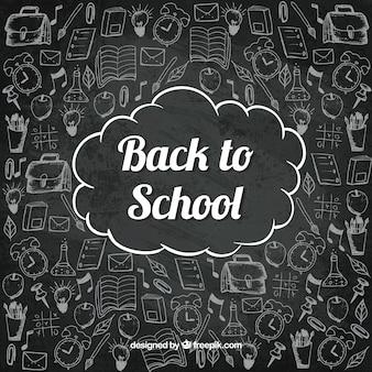 Back to school background in chalkboard style