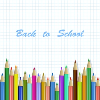 Back to school background, colored pencils