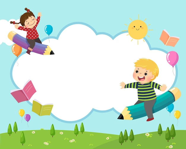 Back to school background concept with happy school kids riding a flying pencil in the sky.