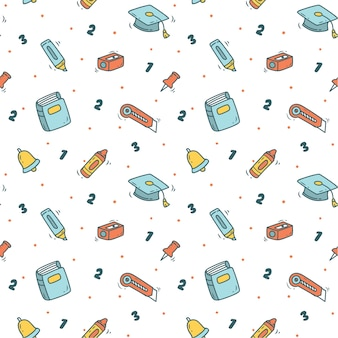 Back to school background in doodle style