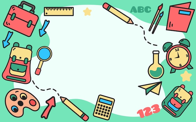 Ritorno a scuola sfondo doodles vintage