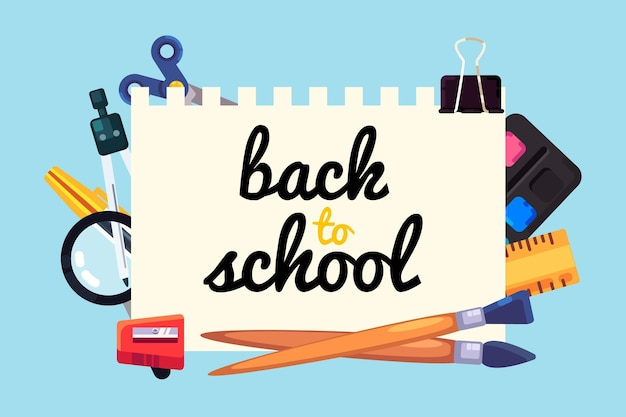 Back to school background in flat design