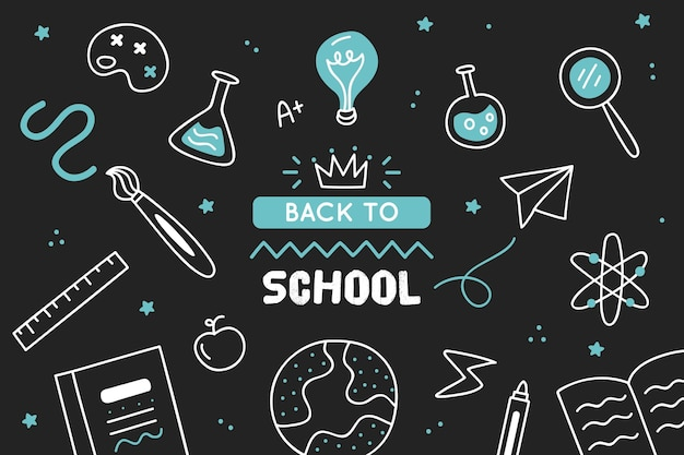 Back to school background hand drawn style