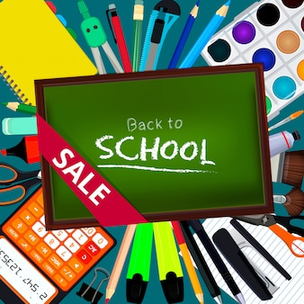 Back to school. background illustrations with different office stationery tools