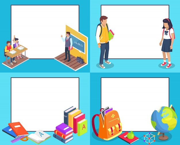 Back to school background set with characters