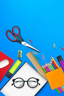 Back to school background supplies illustration