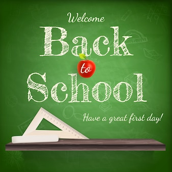Back to school background template with red apple.