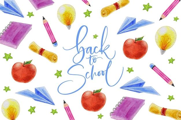 Torna a scuola sfondo disegno ad acquerello