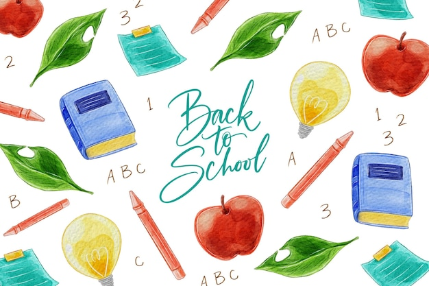 Back to school background watercolor style