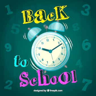 Back to school background with alarm clock