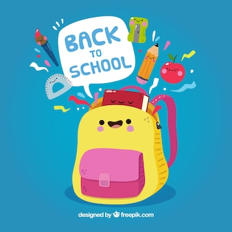 Back to school background with backpack cartoon