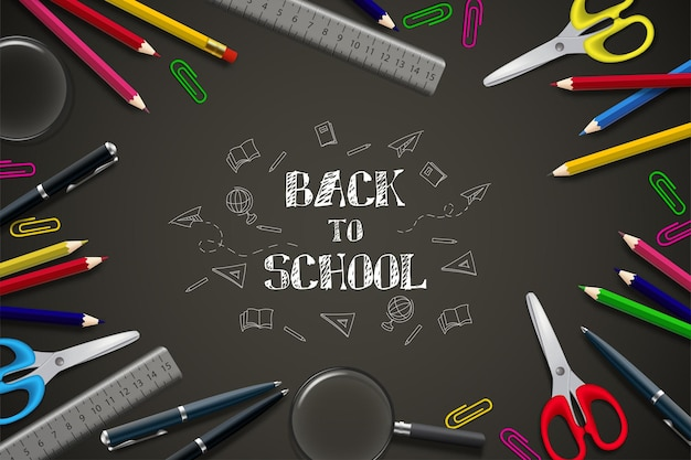 Back to school background with black background