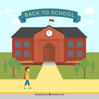 Back to school background with building