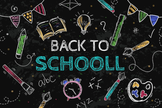 Back to school background with chalk