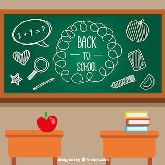 Back to school background with chalkboard and desks