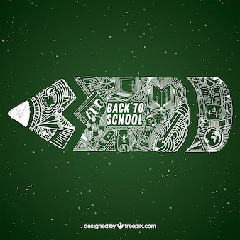 Back to school background with chalkboard pencil