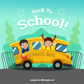Back to school background with children in bus
