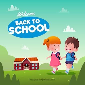 Back to school background with children in nature