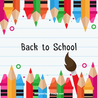 Back to school background with colored pencils