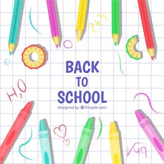 Torna a scuola sfondo con matite colorate