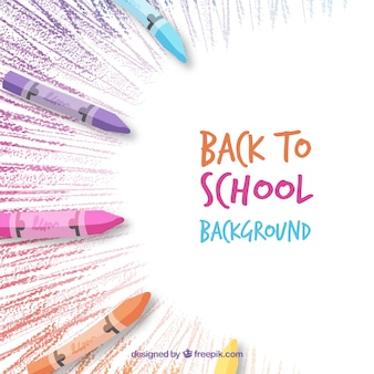 Back to school background with crayons