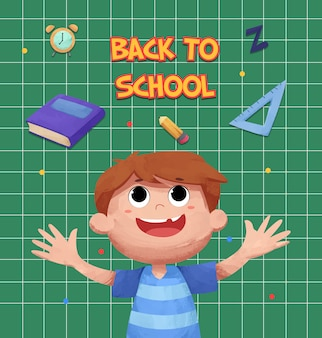 Back to school background with cute watercolor children character