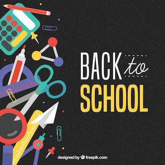 Back to school background with elements on left
