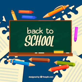 Back to school background with flat blackboard