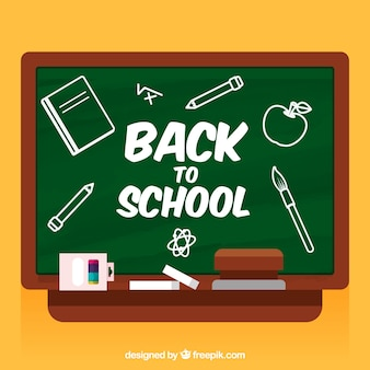 Back to school background with flat blackboard
