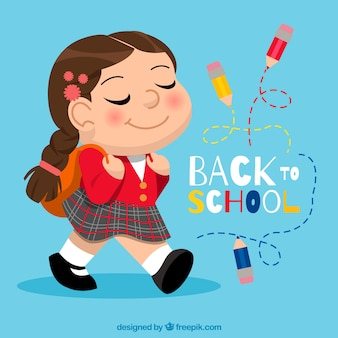 Back to school background with girl