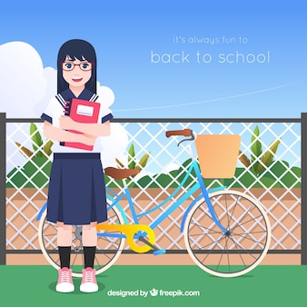 Back to school background with girl Free Vector