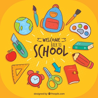 Back to school background with hand drawn style
