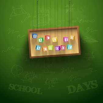 Back to school background with hanging board and colorful letter cubes