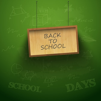 Back to school background with hanging plank