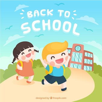 Back to school background with happy kids