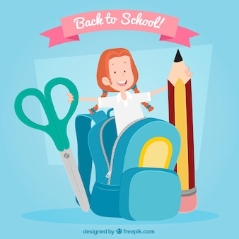 Back to school background with happy student