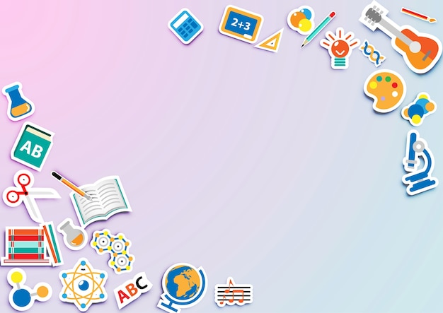 Back to school background with icon sticker vector