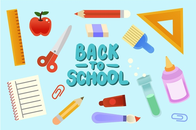 Back to school background with items