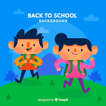 Back to school background with kids in flat style